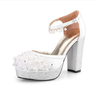 Wholesale 2014 New Arrival White Diamond Wedding Shoes High heeled Pumps Bride Shoes Dress Party Shoes