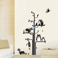 baby owl art - New Cute Owl Squirrel Bird Tree Removable Wall Stickers for Kid Nursery Baby Animal Decor beautiful Decal sets