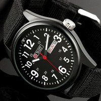 Wholesale Mens Military Black Dial Fabric Strap Swiss Design Date Sport Army Watch MR051