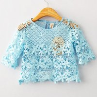 baby smock - 2015 Summer Baby Girl s Shirts Half sleeved Pierced Smock Lace Embroidered Blouse Round Collar T shirt
