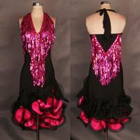 Wholesale 2015 High End Women Latin Dance Dress Black Custom Sequins Tassel Lady Latin Ballroom Dancing Dresses Regatas Femininas DQ3076