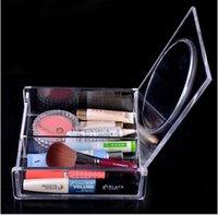 Sundries jewelry mirror - 2015 NEW SF B Fashion Acrylic women Cosmetic Case LADY Makeup box Organnizer Jewelry Display Case powder box with Mirror TOPB3177