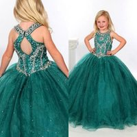 ballgown dress - Green Organza Pageant Dresses for Teens Halter Neckline Keyhole Back Ballgowns Floor Length Stones Beaded Girls Pageant Dress Spring