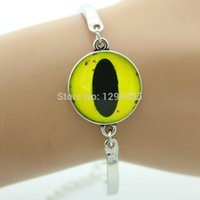 antique yellow gold ring - Fashion animal yellow cat eye Glass cabochon yellow eye bracelet antique silver bronze gold plated bracelet for friendship OY