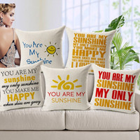 bedroom linen - 20 Styles You are my Sunshine Cushion Cover Purple Flower Angel Girl English Letter Love Linen Cotton Pillow Cover Baby Bedroom Decoration