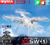 al por mayor quad rc helicóptero-DHL libre 100% original SYMA X5SW WIFI RC Drone FPV Quadcopter con la cámara sin cabeza 2.4G 6-Axis Tiempo real RC helicóptero Quad Juguetes copter