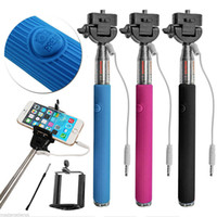 Wholesale Freeshipping new Wire Extendable Self Selfie Stick Handheld Monopod clip Holder bluetooth Camera Shutter Remote Controller