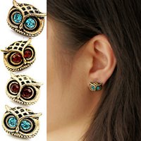 Wholesale 10Pairs Retro Vintage Silver Bronze Crystal Rhinestone Shinning Owl Ear Stud Animal Earrings XMHM204