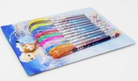 Wholesale Colorful Christmas Frozen Princess Elsa Anna Gel Pen Shining Glitter Ballpoint Writing Stationery Set Pens with retail box children gift