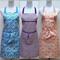 beautiful aprons - 2016 Korean fashion cute grid print apron bow beautiful princess canvas apron work apron housewife tools large pocket Aprons Home Textiles