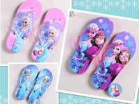 cartoon slippers - Frozen Casual Slipper Shoe ELSA ANNA Flip Flops HOT Children Cartoon Beach Shoes Household Shoes pairs N003