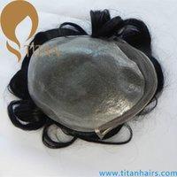 Wholesale natural black quot x8 quot brazilian Human Hair swiss laceToupee for men Men s Wig natural wave men s toupee thin skin toupee