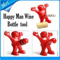 Cheap Kitchen Bar Red Fun Happy Man plastic Wine Beer Soda Bottle Novelty Opener Stopper Red Wine Bottle Opener Cork