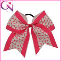 Hair Bows bows for girls hair - 30Pcs Breast Cancer Awareness Cheer Bows For Girl Grosgrain Ribbon Cheer Bow With Elastic Band Children Hair Accessories CNEHB