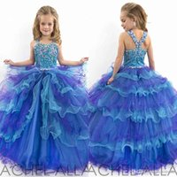 Cheap Lovely Little Kids Flower Girls Dresses for Weddings Spaghetti Strap Organza Ball Gown Tiered Size 10 Piping Girls Pageant Dresses 2015