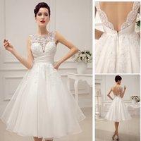 Wholesale Silver Satin Wedding Reception - Robe De Mariage Luxurious Elegant Satin And Lace Wedding Dress Tea Length Wedding Reception Dresses Vestido De Noiva