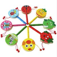 Wholesale 1 x Children Baby Musical Baby Toy Hand Bell Rattle Drum Puzzle Wooden Toys Early Education Color Send Randomly