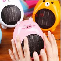 Wholesale 100 BBA5056 Cat bear shape Fan heaters Mini cartoon Mini Heater Valentine Gift With Holder desktop Cartoon heater Creative miniature heaters