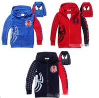 Boy Spring / Autumn  DHL Shipping 3 Colors Fashion Kids Spring Autumn Hooded Outwear Boys Cartoon Spiderman Hoodies Kids Zipper Jacket Coat for Kids 2-8yr