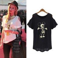Cheap Punk Blusas T Shirt Woman Clothing Ladies Short Sleeve Off Shoulder Mouse Skull Print Summer Tops Women T-Shirt Plus Size 0608