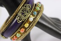 antique wooden indians - Fashion Women Jewelry Indian Style Antique Gold Plated Purple Wooden Hot Sell Vintage Bangles Bracelets Set Jewelry Gift Sale