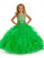 Wholesale 2016 Light Green Custom Made Ruffles Princess Halter Floor Length Ball Gown Flower Girl Dresses Pageant Dresses Girls Formal Occasion