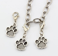 antique prints sale - Hot Sales Antique Silver Tone Paw Print Charm With lobster clasp Fit Charm Bracelets DIY Jewelry x29 mm