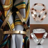 Wholesale Fashion Rose Gold Plated Trio Scarf Ring Silk Scarf Buckle Clip Slide Jewelry