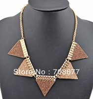 alloy chain - New Arrival Fashion Gold Plated Alloy Geometry Chains Necklaces Paillette Triangle Choker Necklace
