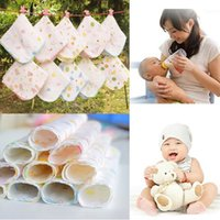 Wholesale 10Pcs Baby Soft Cotton Feeding Towel Teddy Bear Bunny Dot Chart Printed Children Small Handkerchief Gauze Towels