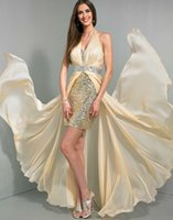 Cheap 2015 A Line High Low Chiffon WOW Prom Evening Dresses 6034 Halter V Neck Crystals Sequins Fabric Floor Length Winter Formal Celebrity Gowns