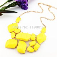 big chunky necklaces cheap - Brand big stone Colors chunky maxi k gold bib necklace colar cheap costume jewelry