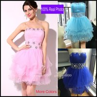 Wholesale Cheap Pink Homecoming Dresses Sweetheart In Stock Real Photo Beaded Tulle Short Prom Party Graduation Cocktail Gowns Under