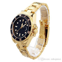 date - 2015 Original Men Golden Stainless Steel Band Men Quartz Luxury Wrist Watches with Black Red Dial Date Display Fashion Watch