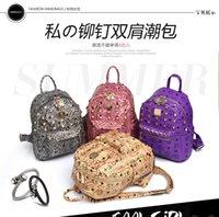 river rock - Punk cool women bags Metallic PU leather River summer rock season backpacks Fashion crazy mini backpack designer BB021