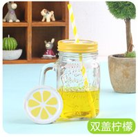 art glass jars - 100pcs LJJC2029 Hot New Arrival Cool Gradiet Lemon Juice Bottle Summer Style Vintage Jar with straw Colorful Cold Drink Glass Bottle