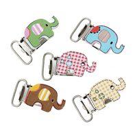 Wholesale 10Pcs Baby Pacifier Clips Wood Cartoon Elephant Pattern Mixed Colour B44956 elephant mobile elephant furniture