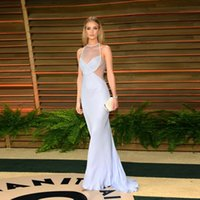 baby seeing - See Through High Neck Celebrity Red Carpet Evening Dresses With Pearls Beaded Pleats Chiffon Mermaid Baby Blue Formal Dress Evening Wear
