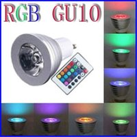 Wholesale 3W LED RGB Bulb Pedestal E27 GU10 E14 MR16 GU5 V V LED Bulb with Key Remote Control