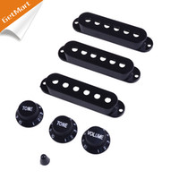Wholesale Black Guitar Single Coil Pickup Cover with volume Tone Knobs Switch Tip
