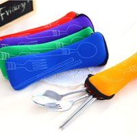 Wholesale 3 New Fork Spoon Chopstick Travel Stainless Steel Cutlery Portable Bag Picnic
