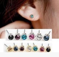 Wholesale Promotion pairs Sterling Silver Brilliant Cubic Zirconia Stud Pierced Earrings MM TE070