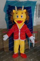 Cheap Newcome Yellow Chinese Dragon Mascot Costume Loong Wearing Red Coat Mascotte Mascota Adult Cartoon Character No.3770 Free Ship
