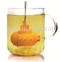 silicone cooking - New Design Novelty TeaSub Submarine Infuser the Beatles Yellow silicone te tea Infuser Ball tea strainer Gift cooking tools