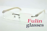 Wholesale Good Quality Manufacture White Buffalo Frameless Glasses Gold and Silver Eye Glasses T8100864 Size mm