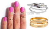 Cheap 10sets Midi Finger Ring Silver Gold Simple Band Stack Above Knuckle Rings Set Gift US Size 5.5