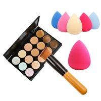 wooden base - 15 Color Concealer Palette Wooden Handle Brush Teardrop shaped Puff Makeup Base Foundation Concealers Face Powder