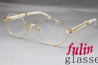 achat en gros de lunettes directes d'usine-Gros-Factory vente directe 7550178 Blanc Buffalo lunettes en corne populaire marque lunettes Taille: 55-22-135 mm