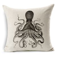 Wholesale Retail oz Octopus Squid Black White Cover Square Invisible Zipper Cover Scandinavian Window Pillow Cases