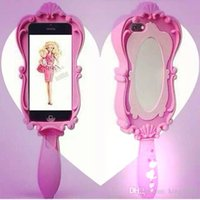 Cheap For Iphone5 6 Silicon Case Newest Fashion Magic Mirror Soft Silicone Rubber Case Magic Girl 3D Pink doll Compact Mirrors DHL Free Shipping
